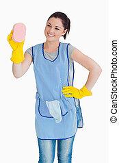 губка, очиститель, женщина, мойка