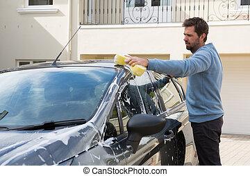 губка, сотрудники, авто, автомобиль, крыша, мойка, оказание услуг