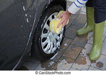 губка, сотрудники, авто, автомобиль, мойка, оказание услуг