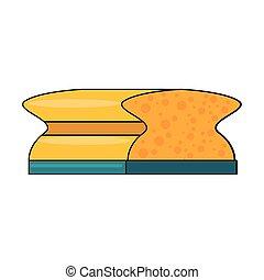 губка, isolated, продукт, символ, уборка