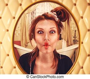губы, женщина, curled