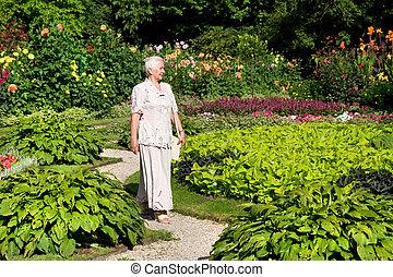 гулять пешком, женщина, парк, старшая