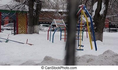 гулять пешком, зима, никто, детская площадка, день