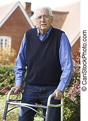 гулять пешком, сад, рамка, с помощью, старшая, человек