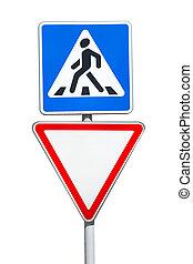 дайте, isolated, пешеход, задний план, путь, знаки, пересечение, белый, дорога
