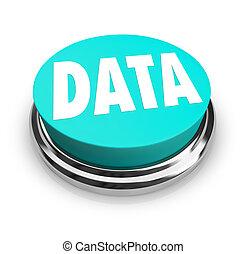 данные, слово, на, синий, круглый, кнопка, информация,...