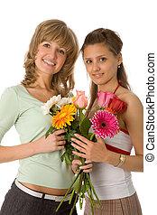 два, женщины, with, цветы