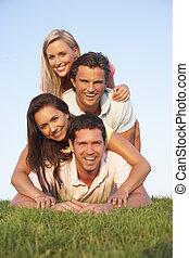 два, молодой, couples, posing, на, , поле