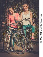 два, подросток, girls, with, велосипед, в, парк, на, солнечно, день