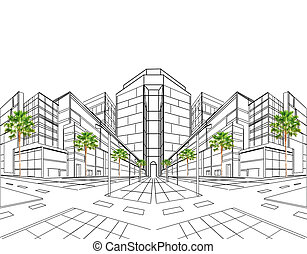 два, точка, перспективный, of, здание, с