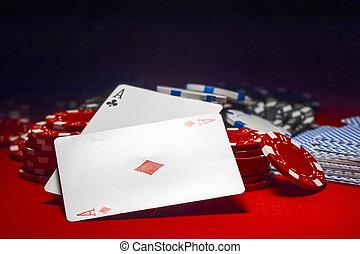 два, aces, and, , свая, of, покер, чипсы, на, , красный, таблица