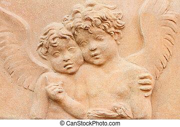два, angels, держа, вместе, -, терракотовый, облегчение