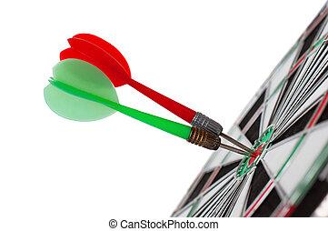 два, darts, в, центр, of, мишень