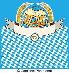 два, glasses, of, пиво, на, бавария, флаг, задний план