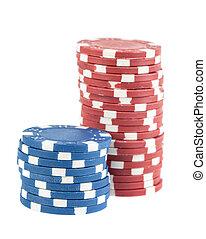 два, stacks, of, покер, чипсы