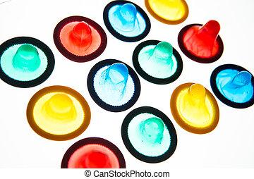 двенадцать, condoms, цветной, brightly