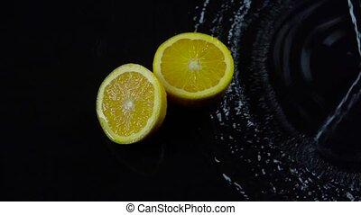движение, медленный, воды, background., черный, splashes, половина, оранжевый