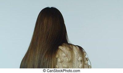 девушка, белый, posing, dark-haired, задний план