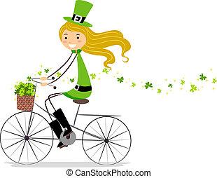девушка, велосипед