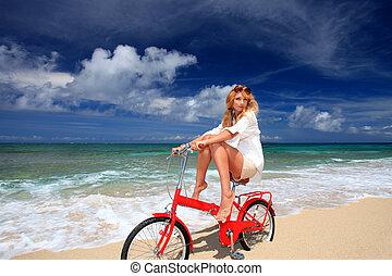 девушка, верховая езда, байк, на, , пляж