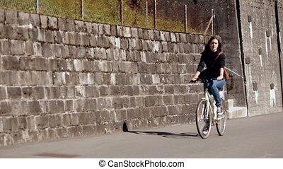 девушка, верховая езда, байк, на, , улица