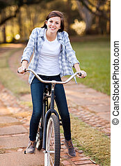 девушка, верховая езда, велосипед