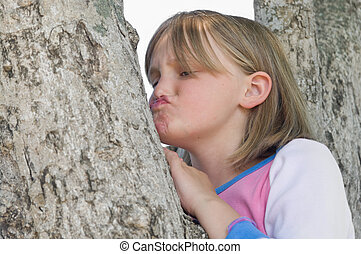 девушка, в, , дерево