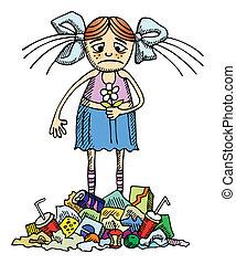 девушка, в, , загрязненный, окружающая среда