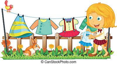 девушка, ее, сад, подвешивание, одежда