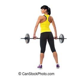 девушка, задний план, isolated, liftings, weights, фитнес, ...