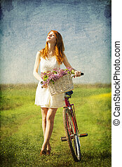девушка, на, байк, в, , countryside.