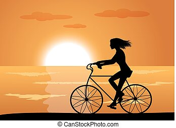 девушка, на, велосипед