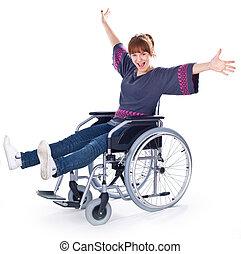девушка, на, инвалидная коляска