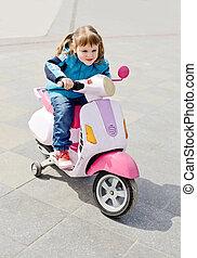 девушка, на, мотоцикл
