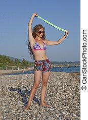 девушка, на, , пляж, 2