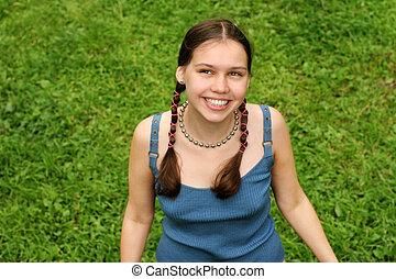 девушка, на, трава