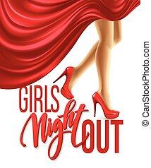 девушка, ночь, вне, вечеринка, design., вектор, иллюстрация
