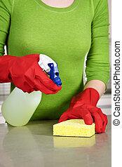 девушка, уборка, кухня