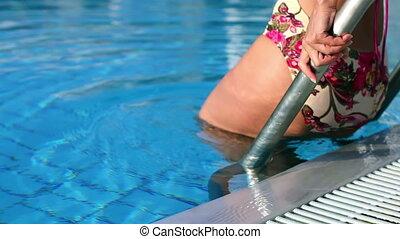, девушка, and, , бассейн