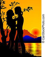 , девушка, and, молодежь, на, заход солнца