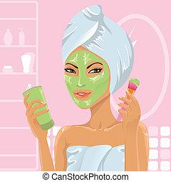 девушка, applying, лицевой, маска