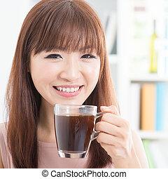 девушка, enjoying, кофе, азиатский