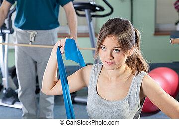 девушка, exercising, в, физиотерапия, клиника