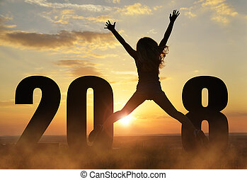 девушка, jumps, вверх, в то время как, celebrating, новый, год, 2018.