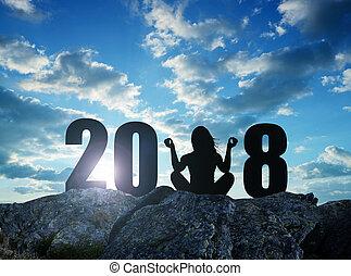 девушка, practicing, йога, на, камень, в, , новый, год, 2018.