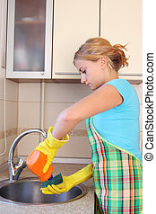девушка, washes, миска