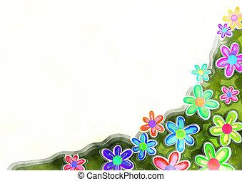 декоративный, акварель, граница, цветочный