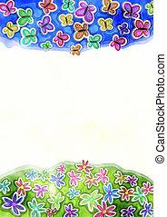 декоративный, бабочка, весна, акварель, маргаритка, граница