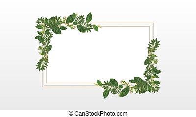 декоративный, пространство, копия, фото, рамка, растение