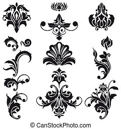 декоративный, цветочный, дизайн, elements